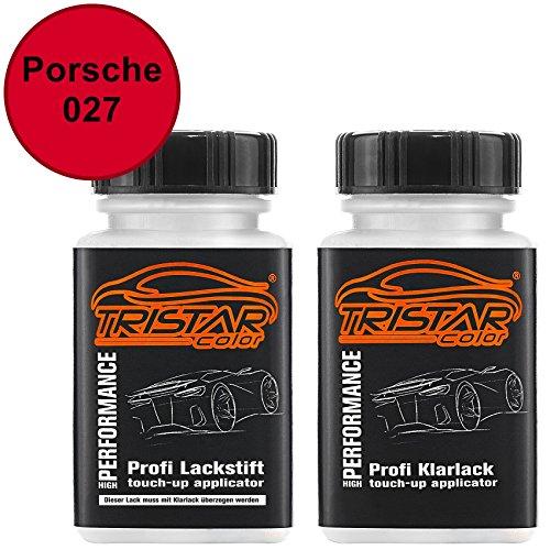 TRISTARcolor Autolack Lackstift Set für Porsche 027 Indischrot Basislack Klarlack je 50ml
