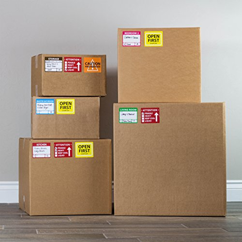 """Large Home Moving Labels - LARGE KIT - 360 Color Coded Labels, 4 Bedroom House, 1 Blank Set, Attention and Priority Labels, Size 4"""" x 3.33"""", By Well Planned Move Photo #5"""