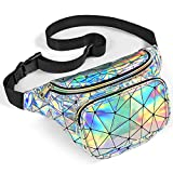 Packism Fanny Pack, Holographic Fanny Pack for Women Men, Waterproof Shiny Neon Waist Pack Bag for Festival Rave Party, Iridescent Belt Bag, Silver