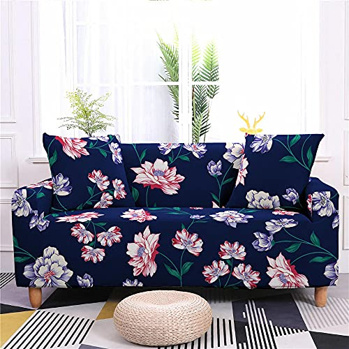 Super Stretch Sofa Covers Couch Covers Sofa Slipcovers for Sofas 3 Seater 3D Printed Pink Flowers Non Slip Slipcover Furniture Protector with Spandex Fabric Washable Sofa SetNavy Blue