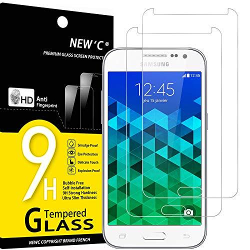 NEW'C 2 Pezzi, Vetro Temperato Compatibile con Samsung Galaxy Core Prime (G360), Pellicola Prottetiva Anti Graffio, Anti-Impronte, Durezza 9H, 0,33mm Ultra Trasparente, Ultra Resistente