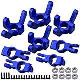 Hobbypark Aluminum Front and Rear Right Hub Assembly Set Steering Knuckles Blocks Stub Axle Carriers for 1/10 Redcat Blackout XTE XBE SC (Pro), Replace BS213-011 BS213-012 (Navy Blue)