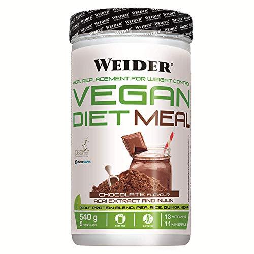 Weider Vegan Diet Meal Choco 540 Gr. Sutituto de comida 100% vegano.Sin gluten. Ideal para dieta