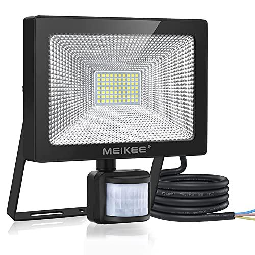 MEIKEE 60W Außenstrahler mit Bewegungsmelder Scheinwerfer Fluter LED Strahler IP66 Wasserdicht 6000LM 6500K Kaltweiß Außenbeleuchtung für Garten Garage Sportplatz