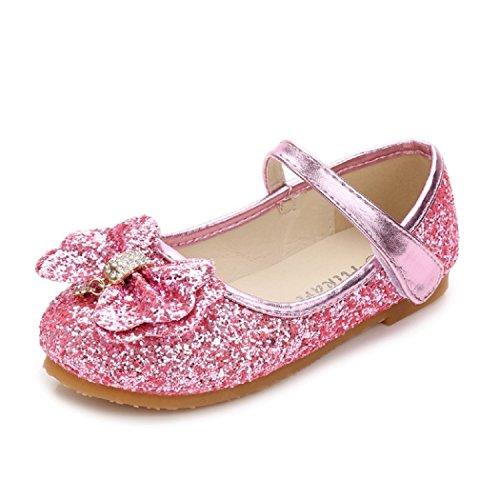 [HIKARI] 子供 靴 キッズ キラキラ パンプス リボン チャーム付き コスプレ プリンセス (27 内寸18cm, ルビーピンク)