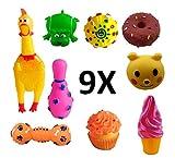 1 Frango Som + 8 Mordedor Brinquedos Borracha Cães Cachorro