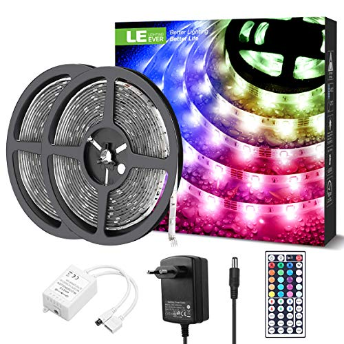 LE Tira Luz RGB 10M, Tira LED 300 SMD 5050, Multicolor y Regulable, Tira Luces LED RGB Impermeable IP65 con 20 Colores 8 Modos, Control Remoto de 44 Teclas, Tiras LED TV para Decoración, Paquete de 2 🔥