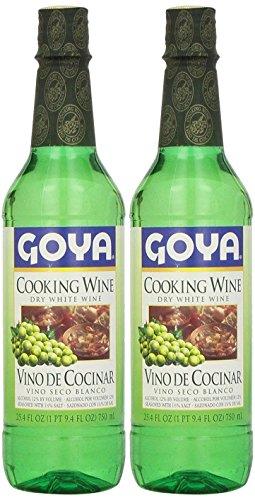 Goya Dry White Cooking Wine 25.4 Fl.Oz. | Vino Seco Blanco 750ml (PACK OF 02)