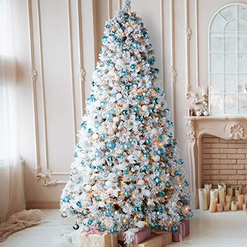 AMERZEST Spruce 9ft Pre-Lit Snow Flocked Christmas Tree,800 Warm Lights,Artificial Trees Pinecone Decor