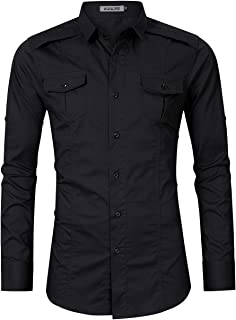 Kuulee Men's Casual Slim Fit Cargo Shirt Long Sleeve Work Shirt Dress Shirt Tactical Shirt Outdoors