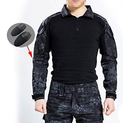 Herren BDU Camouflage-Oberteil, langärmlig, mit Ellenbogenschoner, für taktische Militärspiele / Airsoft / Paintball, Typhon Kryptek