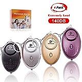Llavero de alarma personal para mujeres-140db Sirena fuerte emergencia alarma de seguridad personal autodefensa, sonido seguro, alarma personal con luz LED para mujeres, niños y ancianos