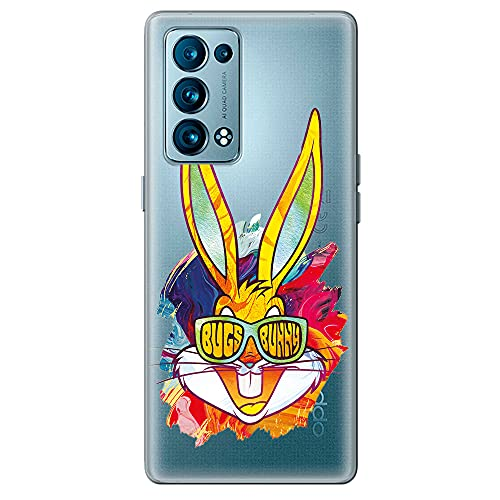 Movilshop Funda para [ OPPO Reno 6 5G ] Looney Tunes Oficial [Bugs Bunny Gafas Cara] de Silicona Flexible Transparente Carcasa Case Cover Gel para Smartphone.