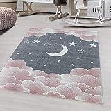 Ayyildiz - Alfombra para niños, diseño de estrella, color rosa – 200 x 290 cm