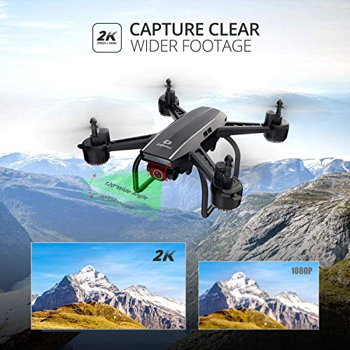 DEERC D50 Drone for Adults with 2K UHD Camera FPV Live Video 120° FOV 4MP, Waypoints, Altitude Hold, Headless Mode, Gesture Selfie, 4 Speed Mode, Gravity Sensor, RC Quadcopter with 2 Batteries