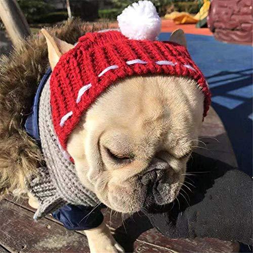 Winter Hundehut Weihnachten Haustier Mütze Wolle Welpen Hut Mit Ball Kopfbedeckung Warme und Winddichte Strick-Haustier Mütze für Hunde Französische Bulldogge (RED)