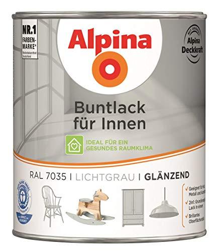 Alpina 2in1 Buntlack 0,75L lichtgrau Ral 7035 glänzend hochdeckender Acryllack für innen