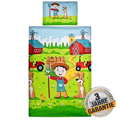 Aminata Kids Bunte Bettwäsche Kinder Bauernhof-Motiv 100x135 cm + 40 x 60 cm, Bauer, Farm-Tiere aus Baumwolle mit Reißverschluss, unsere Baby-Kinder-Bettwäsche mit Traktor-Motiv, Kuh, Hund, Farmer