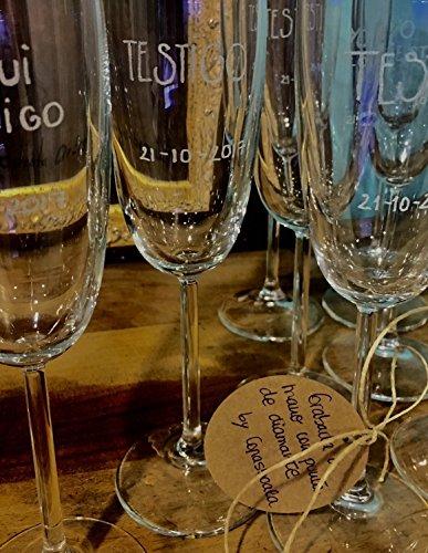 6 Copas de champan para TESTIGOS DE BODA
