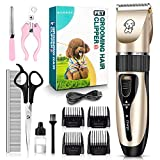[2020 Upgrade] Dog Grooming Clippers, Professional 5-in-1Rechargeable Dog Hair Clippers Kit with Low Noise, Superior Painless Pet Hair Grooming/Trimming/Shaving, Perfect for Small Medium Dogs & Cat
