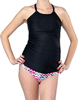 Oceanlily Halter Maternity Bathing Suit-Pregnancy Swimsuits-Maternity Tankini TOP