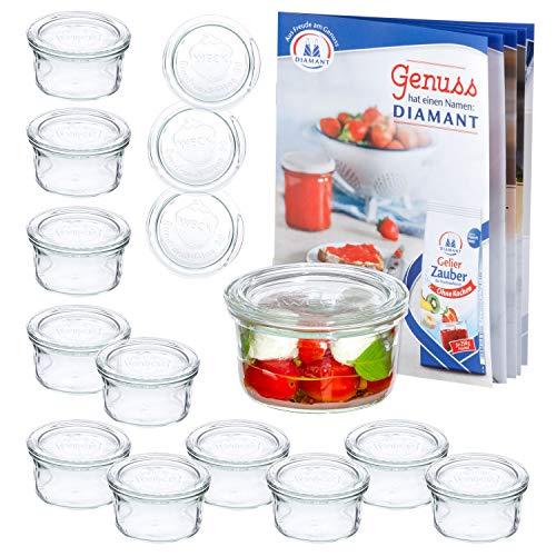 MamboCat 12er Set WECK-Sturzgläser 165 ml + 12 Glas-Deckel RR80 + Rezeptheft | Pasteteten-Gläschen klar | Ø 88 mm | Einmachen, Einkochen & Konservieren | Einweck-Zubehör
