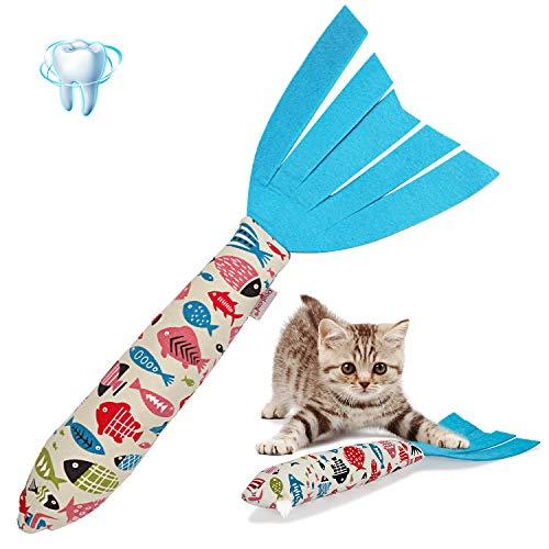Vaburs CatnipToys Cat Toy, Cat Chewing Toy Fish Shape Doll CatnipChews CatnipTeeth GrindingToys Pets PillowforCats Pet Supplies New (White)