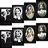 URATOT 4 Pack Halloween Horror Portrait Decorations Spooky Photo Frame 3D Changing Face Scary Picture Frame Haunted Wall Decoration for Home, Halloween Party Decor