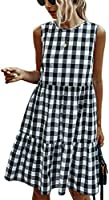 ECOWISH Women Dresses Polka Dot Sleeveless Summer Casual Sundress A Line Loose Swing T Shirt Mini Dress with Pockets 123...