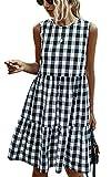 ECOWISH Women Dresses Plaid Sleeveless Summer Casual Sundress A Line Loose Swing T Shirt Mini Dress with Pockets Black Medium