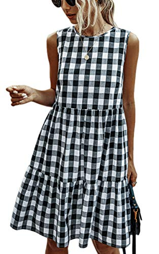 ECOWISH Women Dresses Plaid Sleeveless Summer Casual Sundress A Line Loose Swing T Shirt Mini Dress with Pockets Black X-Large