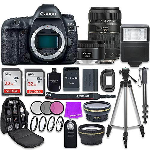 Canon EOS 5D Mark IV Digital SLR Camera with Canon EF 50mm f/1.8 STM Lens + Tamron 70-300mm f/4-5.6 AF Lens + Accessory Bundle (Renewed)