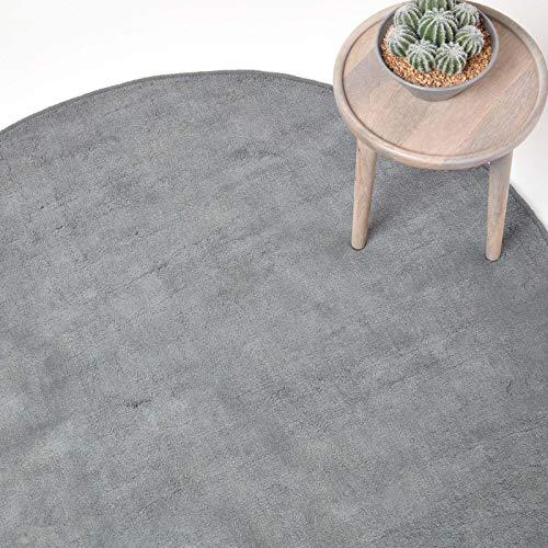 Homescapes runder Kurzflor-Teppich/Bettvorleger, getufteter Baumwollteppich, 150 cm, grau