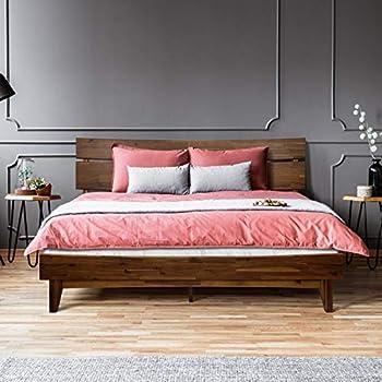 ACACIA Aurora 14 Inch Wood Platform Bed Frame with Headboard King Chocolate