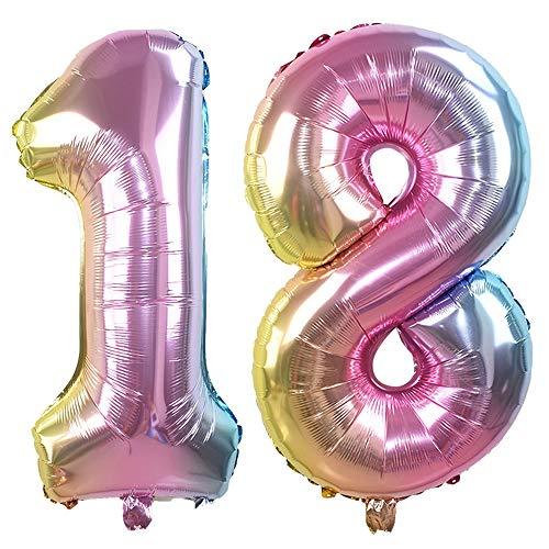 Ouinne Ballon Zahl 18, 32 Zoll Helium Folie Luftballon 18 Geburtstag Folienballon Geburtstag Dekoration Set Riesen Folienballon Fur Party (Regenbogen)