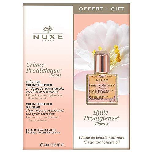 Nuxe Crème Prodigieuse Boost Crème-Gel Multi-Correction 40 ml + Huile Prodigieuse Florale Visage-Corps-Cheveux 10 ml Offert