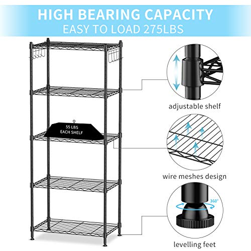 alvorog 5-Shelf Shelving Storage Unit Heavy Duty Metal Organizer Wire Rack with Leveling Feet and Hooks Adjustable Shelves for Bathroom Kitchen Garage (23.2Lx13.3Wx59H)