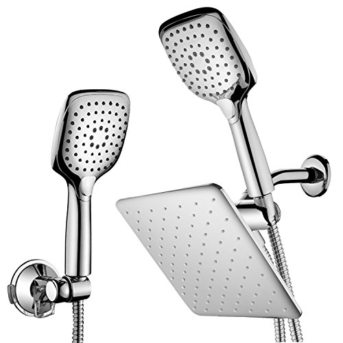 HotelSpa 10.5-in Rain Shower Head/Handheld Combo. Convenient Push-Button Flow Control