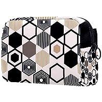 コスメティックバッグトラベルトイレタリー 女性用デイリーポータブルジッパークロージャーメイクアップバッグ,幾何学的ポリゴンの繰り返し