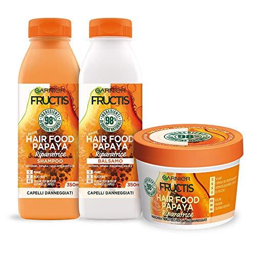 Garnier Shampoo + Balsamo + Maschera Fructis Hair Food, Kit con Shampoo, Balsamo e Maschera alla Papaya per Capelli Danneggiati, 98% di Ingredienti di Origine Naturale, Confezione da 3