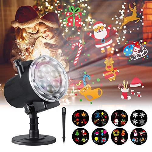 Luces de proyección, DAMPOL 12W HD 12 patrones de diapositivas LED impermeable Lámpara de proyección de paisaje de jardín con control remoto y temporizador para Navidad, Halloween, cumpleaños, fiesta,
