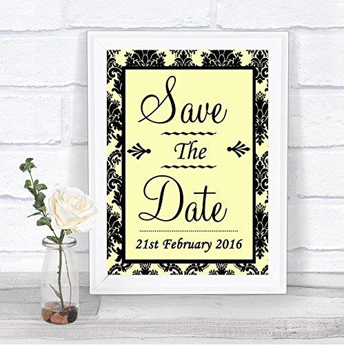 Geel Damasker Bewaar de datum Gepersonaliseerd Bruiloft Teken Framed Oak Small