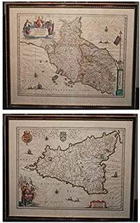 Large 1635 Handcoloured Engraved Map Of Sicily -- With Stato Della Chiesa Con La Toscana [Vlbc]