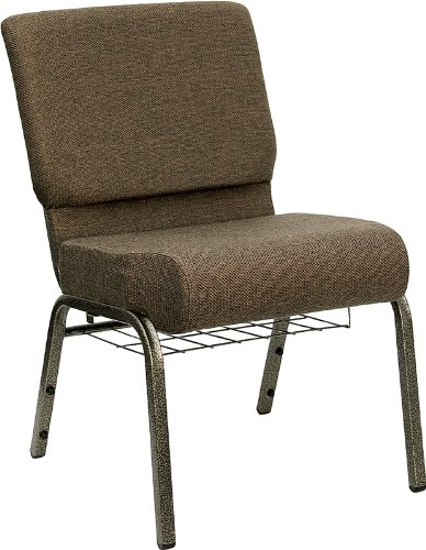 Flash Furniture HERCULES Series 21''W Church Chair in Brown Fabric with Cup Book Rack - Gold Vein Frame