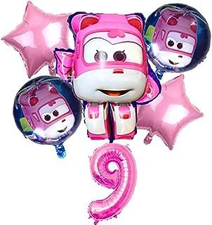 ZJWDM 6Pcs 3D Super Wings Balloon Jett Globos Super Wings ...