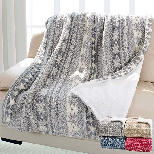 Christmas Throw Sherpa Blanket 50' x 60' Snowflake Pattern, Super Soft Fluffy Sherpa Throw TV Blanket Decorative Blanket for Bed Couch Holidays Grey