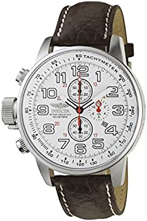 """Invicta Men's 2771""""Force Collection"""" Stainless Steel Left-Handed Watch with Brown Leather Band"""