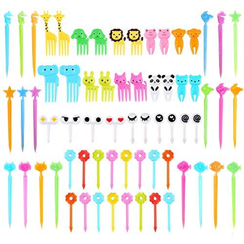 66 Pcs Animal Food Picks for Kids, Fun Bento Picks, Cute Cartoon Animal Fruit Food Toothpicks, Lunch Bento Box Picks for Toddler