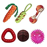 Kiki N Pooch Puppy and Dogs Chew Rope Squeaky Teething Toys | Carrot | Dummy | Rope Dumbbell | Led Ball | Squeaky Basketball | Triangle Teether