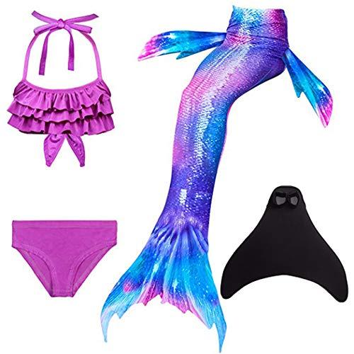 SPEEDEVE Niñas Disfraz de Sirena con Aleta para Nadar,DH22+WJF74,130cm